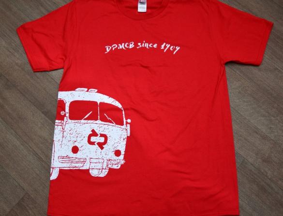 Tričko pánské, motiv autobus, červené
