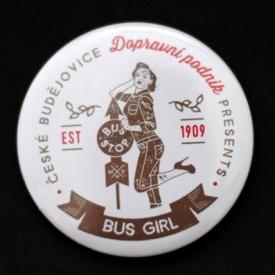 Button badge – bus girl