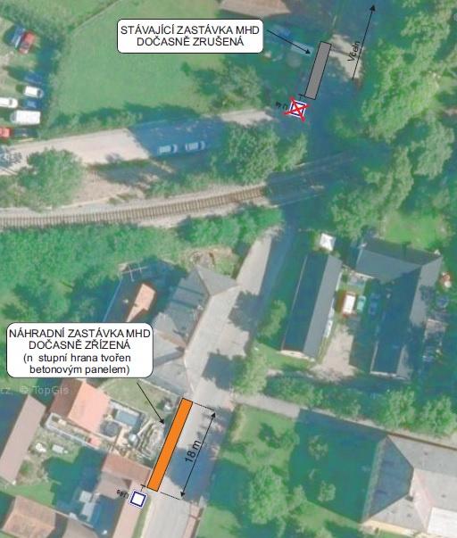 Dočasný přesun zastávky Boršov nad Vltavou, Podjezd