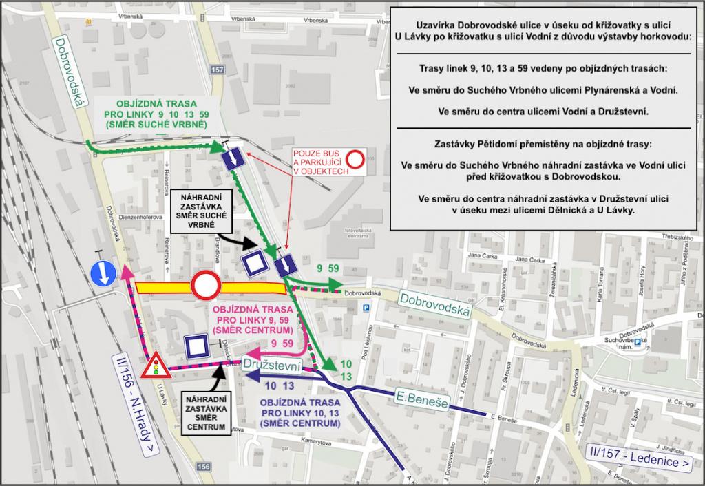 Uzavírka Dobrovodské ulice - odklon linek 9, 10, 13 a 59