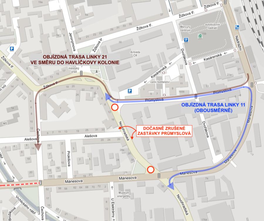 Uzavírka Novohradské ulice - odklon linek 11 a 21