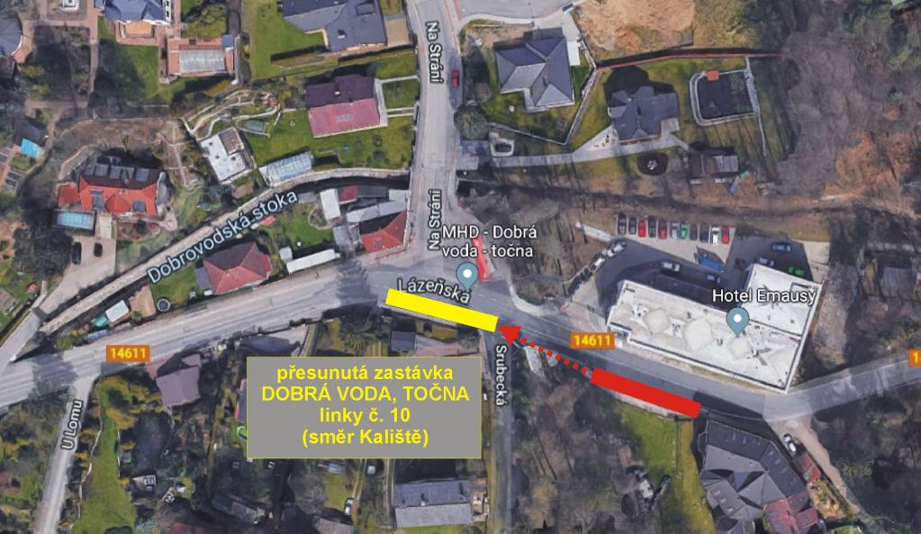 Dočasný přesun zastávky Dobrá Voda, Točna (linka 10, směr Kaliště)