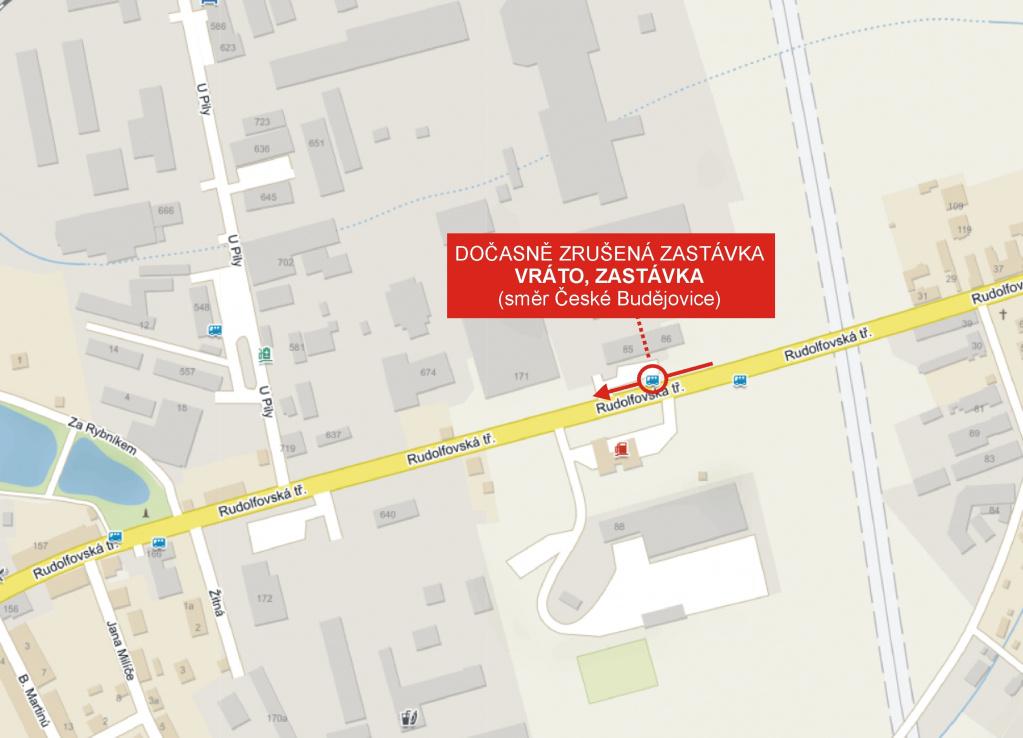 Dočasné zrušení zastávky Vráto, Zastávka (směr České Budějovice)