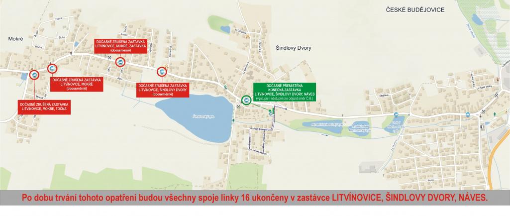 Dočasné zrušení zastávek v úseku Litvínovice, Šindlovy Dvory - Litvínovice, Mokré, Točna