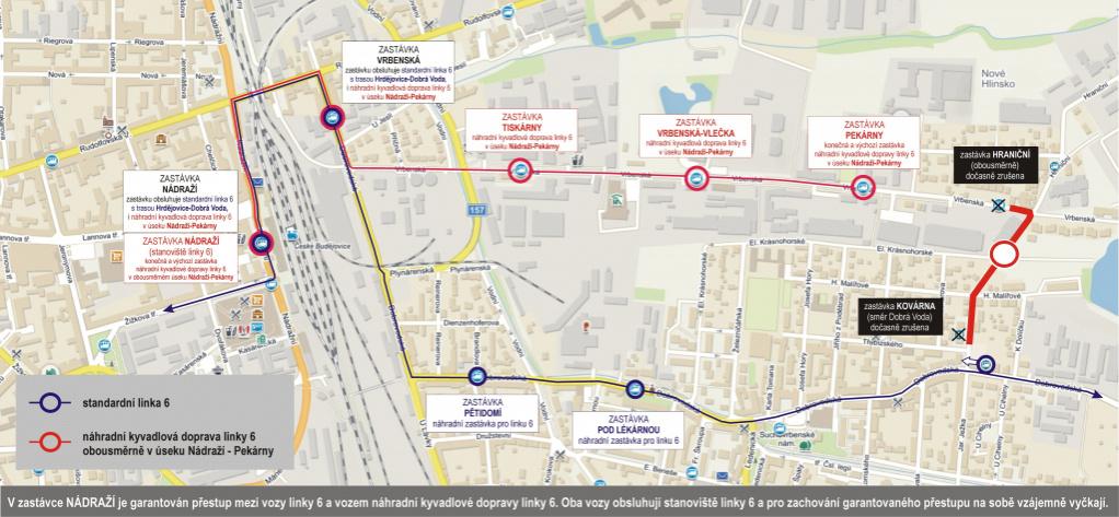 Odklon linky 6 a zavedení náhradní kyvadlové dopravy