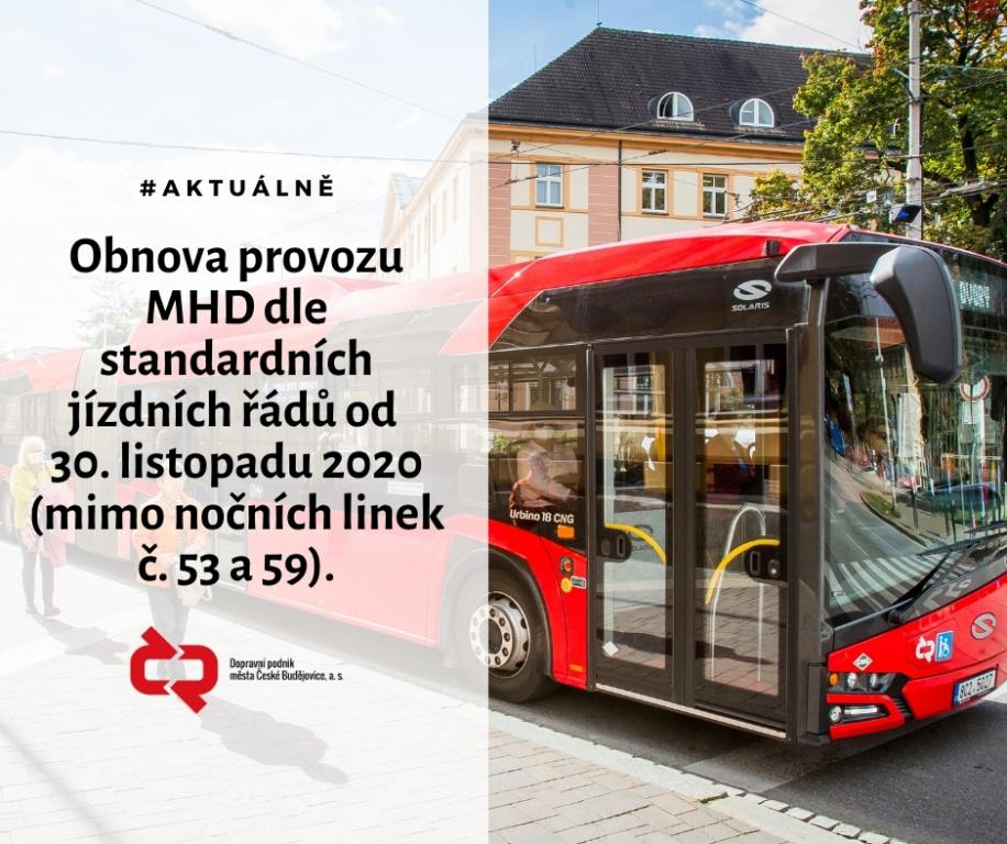 Provoz MHD v Českých Budějovicích se od 30. 11. 2020 vrací do normálu