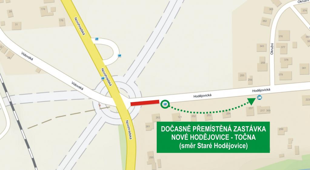 Dočasný přesun zastávky Nové Hodějovice-točna