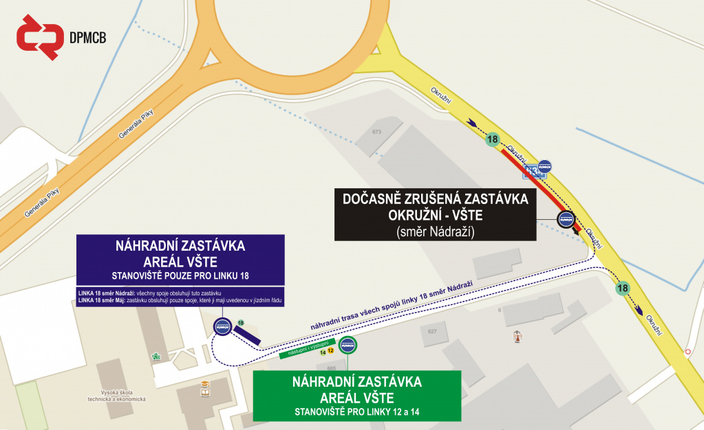 Dočasné zrušení zastávky Okružní - VŠTE (směr Nádraží)