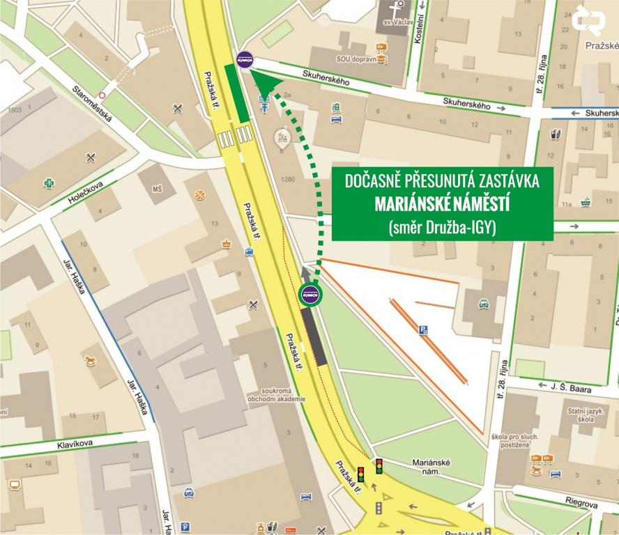 Dočasný přesun zastávky Mariánské náměstí (směr Družba-IGY)