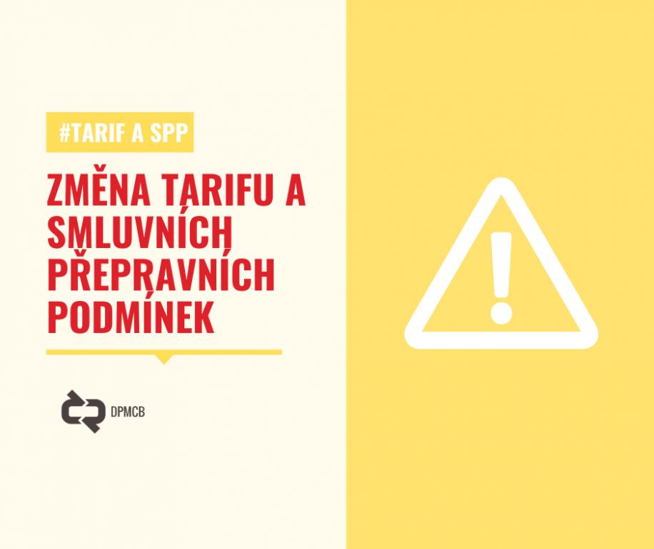 Prvního září dochází ke změně Tarifu a Smluvních přepravních podmínek