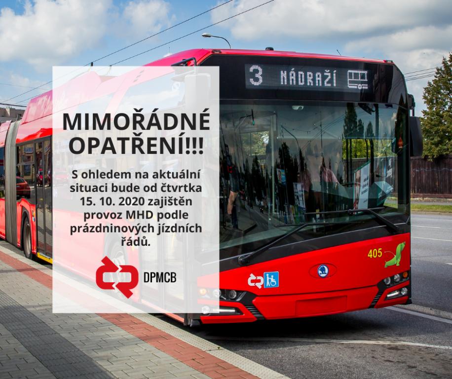 Českobudějovická MHD se bude od čtvrtka 15. 10. 2020 řídit prázdninovými jízdními řády